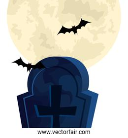 halloween tomb with bats flying