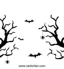 dry trees with bats flying and spiders