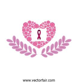 heart with flowers of the fight cancer against breast