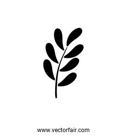 silhouette of branch with leafs nature ecology isolated icon
