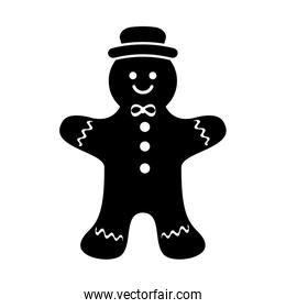silhouette of ginger cookie christmas isolated icon