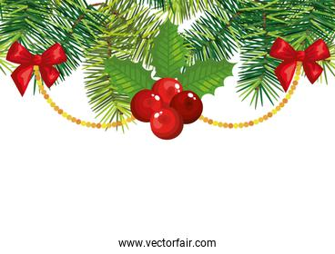 holly fruits with decoration christmas isolated icon