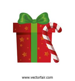 gift box with cane christmas isolated icon