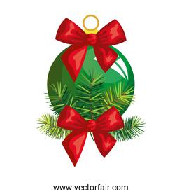 ball christmas with bow decoration isolated icon