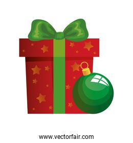 gift box with ball christmas isolated icon