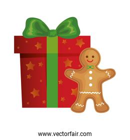 gift box christmas with ginger cookie isolated icon