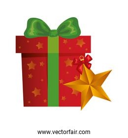 gift box christmas with star isolated icon