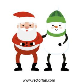 merry christmas santa claus with snowman