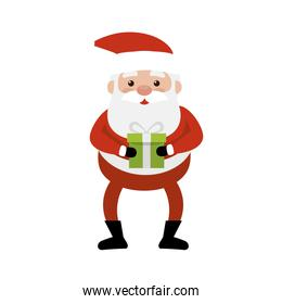 merry christmas santa claus with gift box