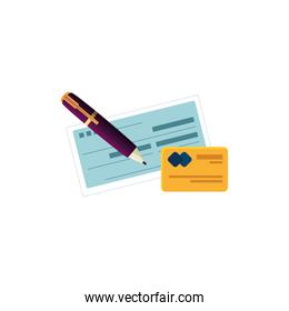 check of bank with pen and credit card