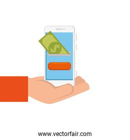 hand with smartphone and bill isolated icon