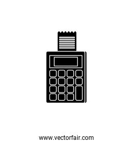silhouette of dataphone with voucher isolated icon