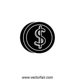 silhouette of coin money isolated icon