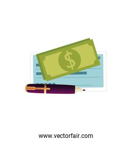 bill money with pen and check isolated icon
