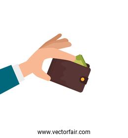 hands with wallet accessory isolated icon