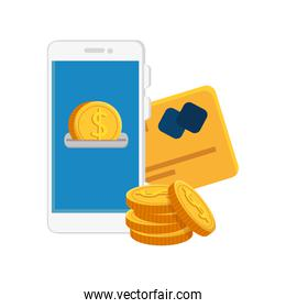 smartphone with coins and credit card