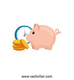 piggy bank with coins and clock isolated icon