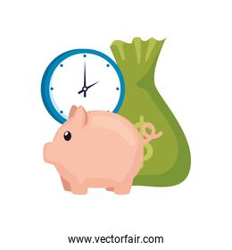 clock with piggy bank and money bag