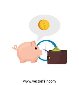 clock with piggy bank and wallet
