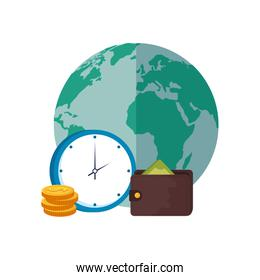 wallet with planet earth and clock