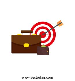 target with suitcase and wallet isolated icon