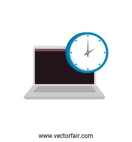 laptop computer with clock isolated icon