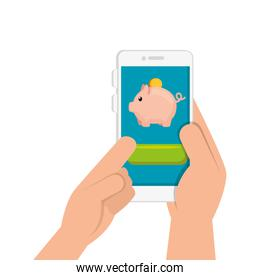 hand and smartphone with piggy bank