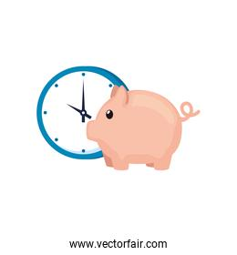 clock with piggy bank isolated icon