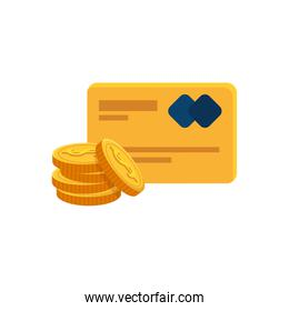 credit card with pile coins isolated icon