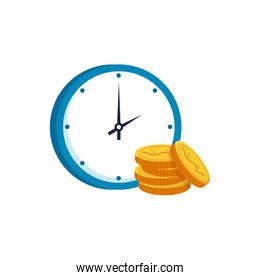 pile coins with clock time isolated icon