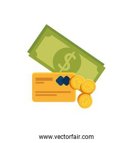 bills with coins and credit card isolated icon