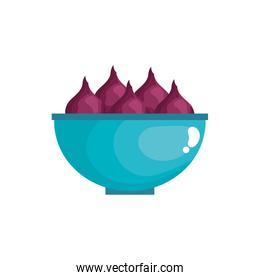onion vegetables in bowl isolated icon