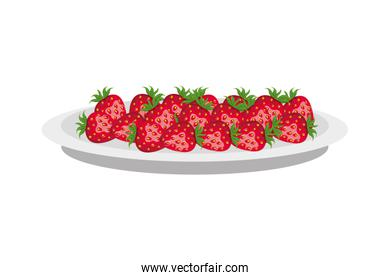 Isolated plate with fruits vector design