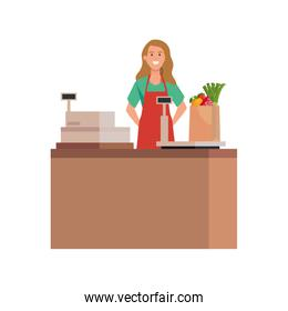 Isolated seller woman vector design