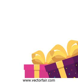 Isolated gifts with bowtie vector design