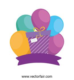 Isolated gift with balloons vector design