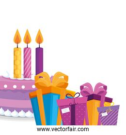 Isolated gifts with cake vector design