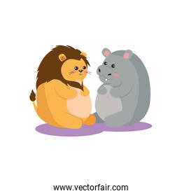 Isolated lion and hippo cartoon vector design