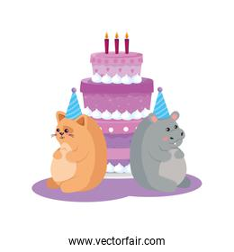 Cat and hippo with happy birthday vector design