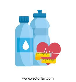 bottle water with heart and bottle water