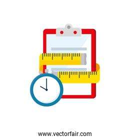 measuring tape with clipboard and chronometer