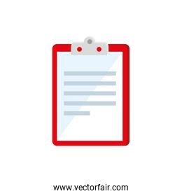 clipboard with paper document isolated icon