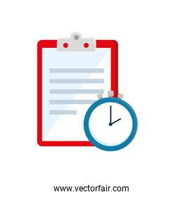clipboard with paper document and chronometer time