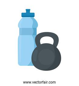dumbbell equipment gym with bottle water