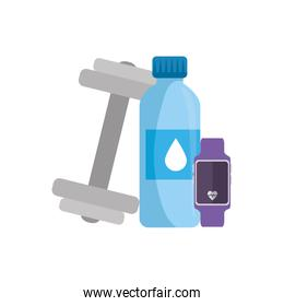 dumbbell with bottle water and smartwatch sport