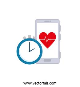 chronometer time and smartphone with heart rate