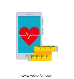 smartphone device with icons healthy gym