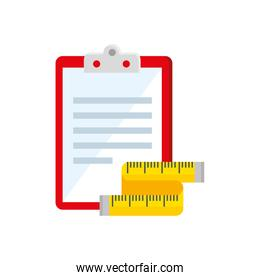 measuring tape and clipboard with paper documents