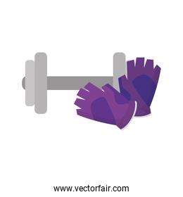 dumbbell with fingerless gloves isolated icon