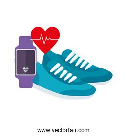 smartwatch with shoes of sport isolated icon